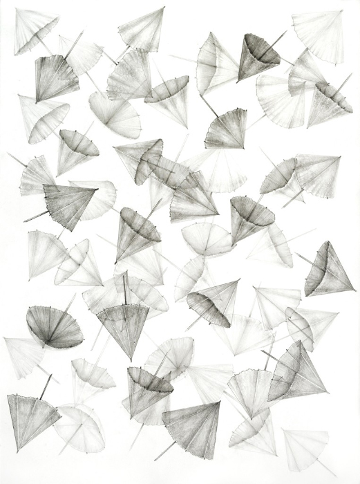 Amelia Hankin, 'Open (Umbrellas)', 2016, Graphite and pen drawing on archival paper, 30 x 22 in.