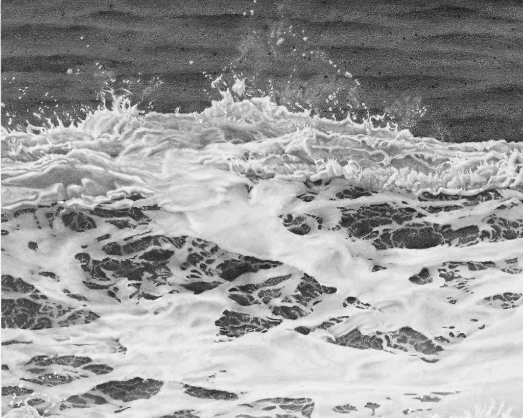 Kay Ruane, 'Wave' (detail), 2016, Graphite on board, 36.125x60 in.