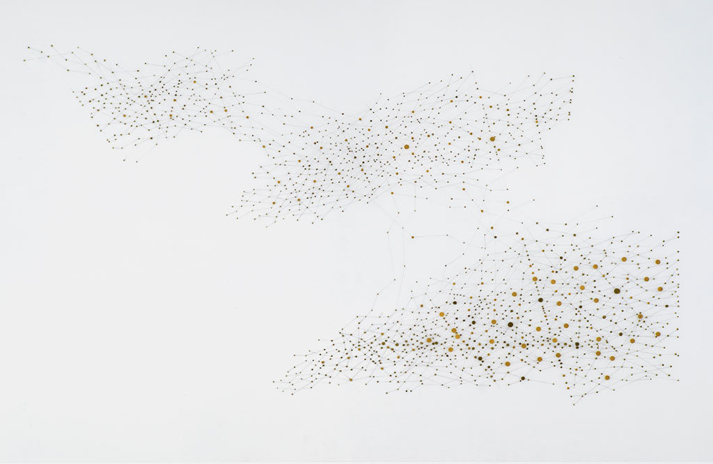 Yu-Wen Wu, 'Orientations II', graphite, gold ink collaged on duralar,40x25 in.