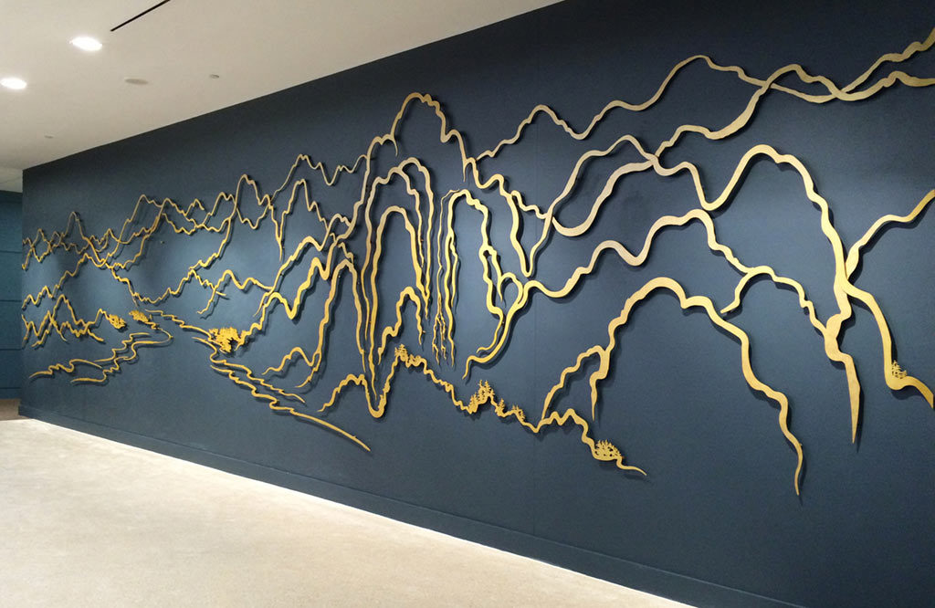 Yu-Wen Wu, 'Terrain', gold pigment on aluminum,38x11 ft.