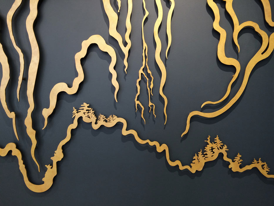 Yu-Wen Wu, 'Terrain', gold pigment paint on aluminum,38x11 ft.